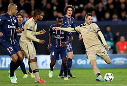 06.11.2012, Stade de Parc des Princes, Paris, FRA, UEFA CL, Paris St. Germain vs Dinamo Zagreb, Gruppe A, im Bild Marcelo Brozovic, Blaise Matuidi, // during UEFA Championsleague group A Match between Paris St. Germain and Dinamo Zagreb at the Stade de Parc des Princes, Paris, France on 2012/11/06. EXPA Pictures © 2012, PhotoCredit: EXPA/ Pixsell/ Marko Lukunic..***** ATTENTION - OUT OF CRO, SRB, MAZ, BIH and POL *****