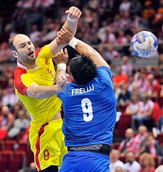 10.04.2016, Ergo Arena, Gdansk, POL, IHF Herren, Olympia Qualifikation, Chile vs Mazedonien, im Bild Vlatko Mitkov // Vlatko Mitkov // during the IHF men's Olympic Games handball qualifier between Chile and Macedonia at the Ergo Arena in Gdansk, Poland on 2016/04/10. EXPA Pictures © 2016, PhotoCredit: EXPA/ Newspix/ Norbert Barczyk<br /> <br /> *****ATTENTION - for AUT, SLO, CRO, SRB, BIH, MAZ, TUR, SUI, SWE only*****