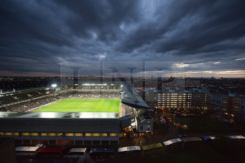 © Licensed to London News Pictures.13/04/2016 LONDON, UK. The sun sets behind the Last FA Cup game at Boleyn Ground, home of West Ham United, who lost against Manchester United in the quarter final replay. West Ham move their new ground at Olympic Stadium, in Stratford, at the end of this season.