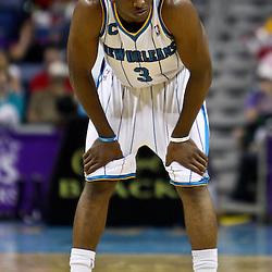 April 11, 2011; New Orleans, LA, USA; New Orleans Hornets point guard Chris Paul (3) against the Utah Jazz during a game at the New Orleans Arena. The Jazz defeated the Hornets 90-78.  Mandatory Credit: Derick E. Hingle