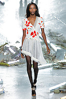 Riley Montana (New York Models) walks the runway wearing Rodarte Fall 2015 during Mercedes-Benz Fashion Week in New York on February 17, 2015