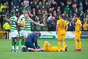 Scott Brown (#8) of Celtic FC appeals to referee Willie Collum after Ryan Christie (#17) of Celtic FC is shown a red card during the Ladbrokes Scottish Premiership match between Livingston FC and Celtic FC at The Tony Macaroni Arena, Livingston, Scotland on 6 October 2019.