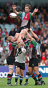 2005/06 National League One, NEC Harlequins vs Exeter, Twickenham Stoop, Twickenham, ENGLAND:  Luke Sheriff, disributes, the collected line out ball   22.10.2005   © Peter Spurrier/Intersport Images - email images@intersport-images..   [Mandatory Credit, Peter Spurier/ Intersport Images].