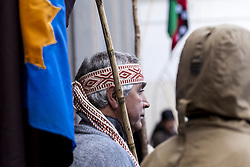April 27, 2018 - Osorno, Chile - Osorno, Chile. 27 April 2018. Mapuche - Huilliche communities leave the Osorno Cathedral after spending eight days in it in support of the Machi Celestino Córdova ancestral authority that was on a hunger strike in Osorno, Chile. (Credit Image: © Fernando Lavoz/NurPhoto via ZUMA Press)