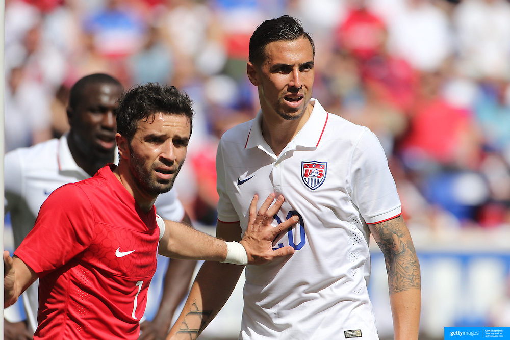 Geoff Cameron, (right), USA, in action during the US Men's National Team Vs Turkey friendly match at Red Bull Arena.  The game was part of the USA teams three-game send-off series in preparation for the 2014 FIFA World Cup in Brazil. Red Bull Arena, Harrison, New Jersey. USA. 1st June 2014. Photo Tim Clayton