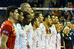 06.01.2016, Max Schmeling Halle, Berlin, GER, CEV Olympia Qualifikation, Frankreich vs Russland, im Bild die Französischen Spieler // the french players sing their national anthem 2016 CEV Volleyball European Olympic Qualification Match between France and Russia at the Max Schmeling Halle in Berlin, Germany on 2016/01/06. EXPA Pictures © 2016, PhotoCredit: EXPA/ Eibner-Pressefoto/ Wuechner<br /> <br /> *****ATTENTION - OUT of GER*****