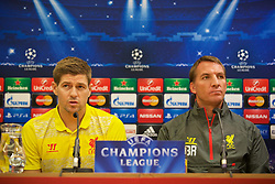 21.10.2014, Anfild, Liverpool, ESP, UEFA CL, FC Liverpool vs Real Madrid, Gruppe B, Pressekonferenz FC Liverpool, im Bild Liverpool's captain Steven Gerrard and manager Brendan Rodgers // during a press conference of Liverpool FC ahead of the UEFA Champions League Group B match between Liverpool FC and Real Madrid CF at Anfild in Liverpool, Great Britain on 2014/10/21. EXPA Pictures © 2014, PhotoCredit: EXPA/ Propagandaphoto/ David Rawcliffe<br /> <br /> *****ATTENTION - OUT of ENG, GBR*****