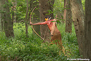 Powhatan Indian stalking with bow and arrow.