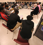Minneapolis , MN -  April 27, 2015 - Students sit in a circle during the Black Male Student Achievement meeting South High School on Monday, April 27, 2015. Photo by Johnny Crawford/ Johnny Crawford Photography