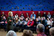 Hillary Clinton, former Secretary of State and 2016 Democratic presidential candidate, speaks to potential supporters during a campaign event at Berg Middle School in Newton, IA on January 28, 2016. Clinton is in Iowa campaigning in the final days before the Iowa Caucus.<br /> <br /> The Iowa Caucus is the first major electoral event of the nominating process for President of the United States. Both the Democratic and Republican Iowa Caucus will occur on February 1, 2016.