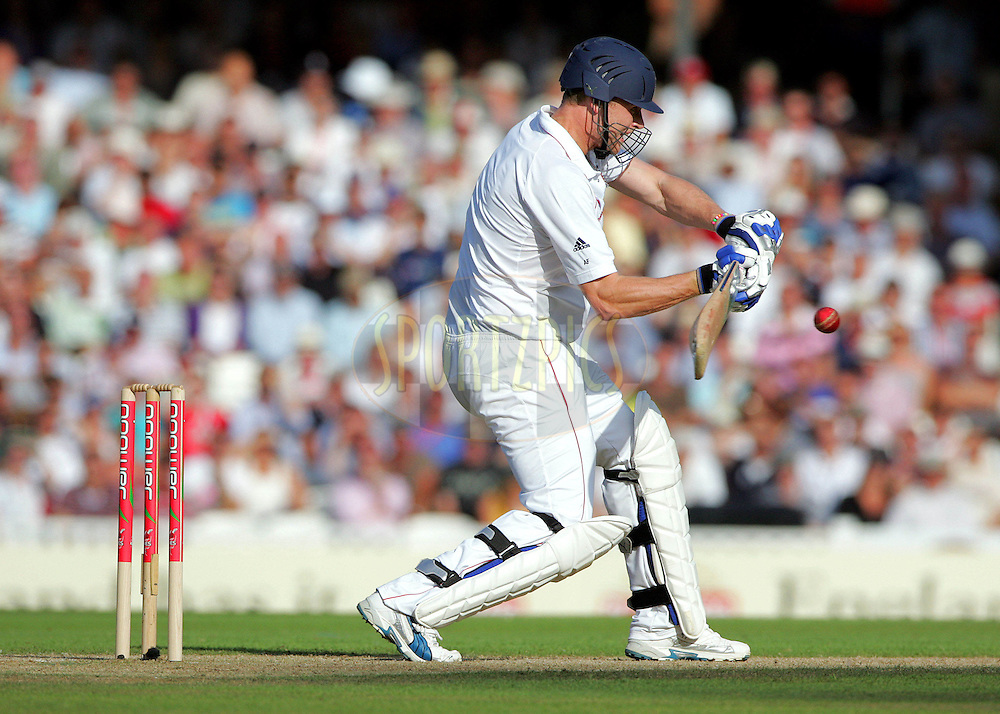 © SPORTZPICS / Seconds Left Images 2009  - Disappointing Andrew Freddie Flintoff flashes at a Mitchell Johnson ball edging it to Brad Haddin out for 7 runs  England v Australia - The Ashes 2009 - 5th npower Test  Match - Day 1 - 20/08/09 - The Brit Oval - London -  UK - All Rights Reserved