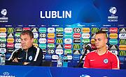 LUBLIN, POLEN 2017-06-21<br /> Pavel Hapal och Stanislav Lobotka under Slovakiska U21 landslagets MD-1 presskonferens p&aring; Arena Lublin, den 21 juni i Lublin, Polen.<br /> Foto: Nils Petter Nilsson/Ombrello<br /> Fri anv&auml;ndning f&ouml;r kunder som k&ouml;pt U21-paketet.<br /> Annars Betalbild.<br /> ***BETALBILD***