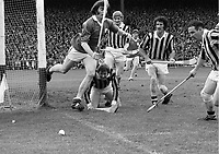 974-25<br /> Kilkenny keeper Noel Skehan smiles as the ball rolls over the end-line during the All-Ireland Hurling Final against Limerick.<br /> (Part of the Independent Newspapers Ireland/NLI collection.)