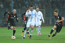 27.11.2014, Stadium Kantrida, Rijeka, CRO, UEFA EL, HNK Rijeka vs FC Standard Liege, Gruppe G, im Bild Jelle Van Damme, Moises // during the UEFA Europa Lduring the UEFA Europa League group G match between HNK Rijeka and FC Standard Liege at the Stadium Kantrida in Rijeka, Croatia on 2014/11/27. EXPA Pictures © 2014, PhotoCredit: EXPA/ Pixsell/ Nel Pavletic<br /> <br /> *****ATTENTION - for AUT, SLO, SUI, SWE, ITA, FRA only*****