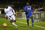 Daniel Ano on the attack during the FA Youth Cup match between U18 AFC Wimbledon and U18 Chelsea at the Cherry Red Records Stadium, Kingston, England on 9 February 2016. Photo by Michael Hulf.