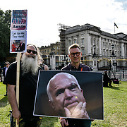Activists protest of Spoil Trumps Banquet with the Queen outside Buckingham Palace, on 3 June 2019, London, UK