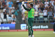 Quinton de Kock reaches his 100 during the One Day International match between South Africa and England at PPC Newlands, Capetown, South Africa on 4 February 2020.