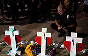 Lt. Jad Lanigan of the Aurora police department looks over crosses for those killed in the Aurora theater shooting, at a vigil on the 5 year anniversary of the tragedy in Aurora, Colorado July 20, 2017.  REUTERS/Rick Wilking