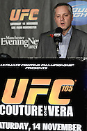 MANCHESTER, ENGLAND, NOVEMBER 12, 2009: Marshall Zelaznik addresses the media during the pre-fight press conference for UFC 105 at the MEN Arena in Manchester, England on November 12, 2009.