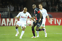 FOOTBALL - FRENCH CHAMPIONSHIP 2011/2012 - L1 - PARIS SAINT GERMAIN v OLYMPIQUE MARSEILLE - 8/04/2012 - PHOTO JEAN MARIE HERVIO / REGAMEDIA / DPPI - ANDRE AYEW / BENOIT CHEYROU (OM) / MOHAMED SISSOKO (PSG)