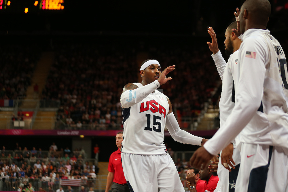Carmelo Anthony of the USA in action against France during Day 2 of the London Olympic Games in London, England, United Kingdom on 29 Jul 2012..(Jed Jacobsohn/for The New York Times)....