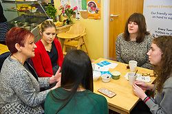 Pictured: Angela Constance, Communities Secretary had the opportunity to chat with Digital Drop In volunteer Students, Orla Landy (red cardigan), Nicole Nq (green top), Mirriam Ochoa (grey top shoulder length hair) and Anastaija Nikolajeva (grey top and long hair)<br /> Today Communities Secretary  Angela Constance visited Dr Bells family centre, where she met staff and volunteers ahead of the first Tackling Child Poverty Delivery Plan being published.<br /> <br /> <br /> Ger Harley | EEm 29 March 2018