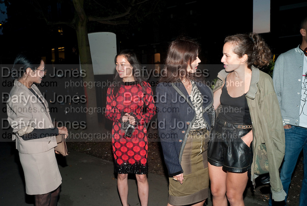 """HANNAH BHUIYA; YI ZHOU; LARA BOHINC; CHARLOTTE DELLAL, , Video artist Yi Zhou  first solo show """"I am your Simulacrum"""".Exhibition opening at 20 Hoxton Square Projects. Hoxton Sq. London. 1 September 2010.  -DO NOT ARCHIVE-© Copyright Photograph by Dafydd Jones. 248 Clapham Rd. London SW9 0PZ. Tel 0207 820 0771. www.dafjones.com."""