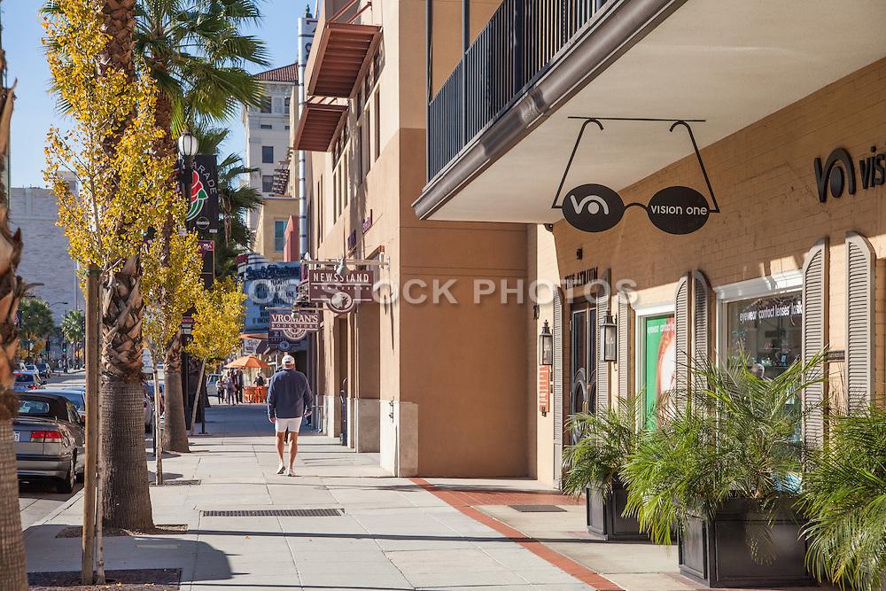 Man Walking on Colorado Boulevard Pasadena on a Sunny Afternoon