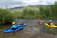 Kayakers putting in on the Blue River, Colorado