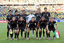 JOHANNESBURG, SOUTH AFRICA - Friday, June 11, 2010: Mexico's players line-up for a team-group photo before the opening match of the 2010 FIFA World Cup South Africa against South Africa at the Soccer City Stadium. Back row L-R: Carlos Vela, Ricardo Osorio, Giovani Dos Santos, Goalkeeper Oscar Perez, Rafael Marquez, Francisco Rodriguez. Front row L-R: Guillermo Franco, Efrain Juarez, Paul Aguilar, Carlos Salcido, Gerardo Torrado. (Pic by Hoch Zwei/Propaganda)