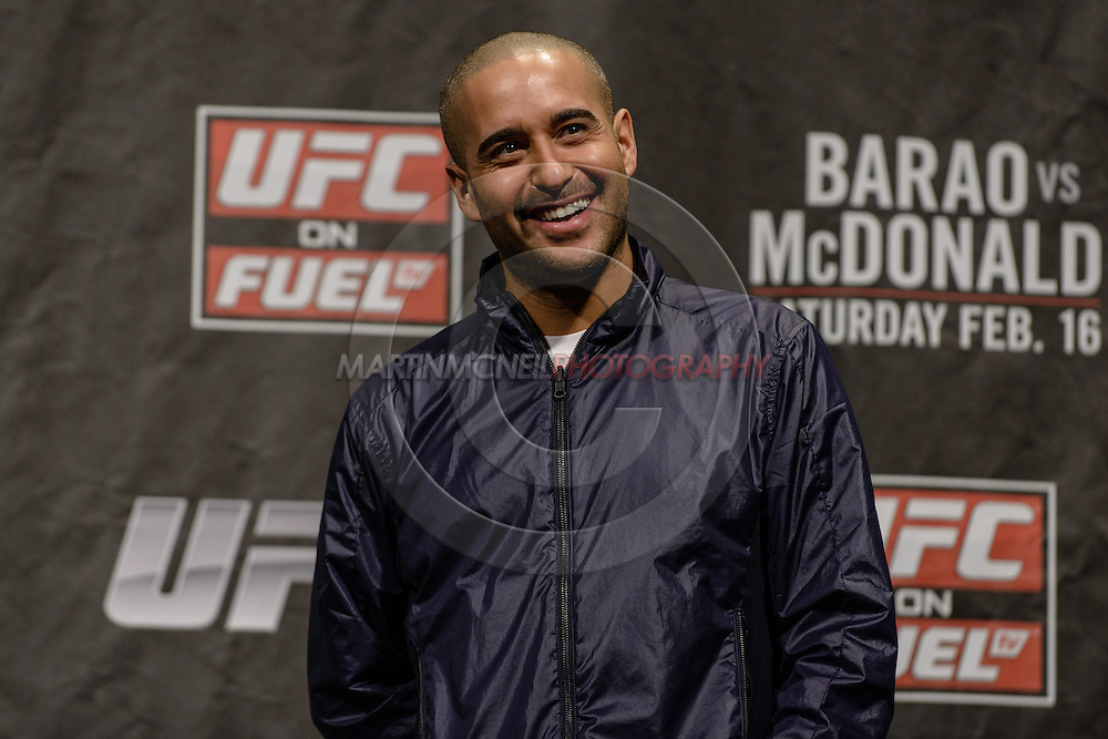 """LONDON, ENGLAND, FEBRUARY 15, 2013: Jon Anik hosts the """"Fight Club"""" Q&A session ahead of the weigh-ins for UFC on Fuel TV 7 inside Wembley Arena in London, England on Friday, February 15, 2013 © Martin McNeil"""