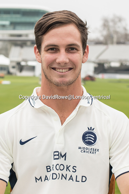 11 April 2018, London, UK.  Hilton Cartwright of Middlesex County Cricket Club in the County Championship white kit .