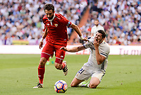 Real Madrid's Alvaro Morata and Sevilla FC Nicolas Martin Pareja during La Liga match between Real Madrid and Sevilla FC at Santiago Bernabeu Stadium in Madrid, May 14, 2017. Spain.<br /> (ALTERPHOTOS/BorjaB.Hojas)