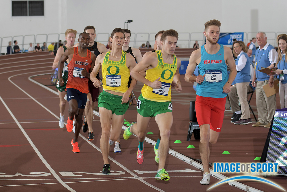 Mar 10, 2018; College Station, TX, USA; Josh Kerr of New Mexico defeats Reed Brown and Sam Prakel of Oregon to win the mile in 3:57.02 during the NCAA Indoor Track and Field Championships at the McFerrin Athletic Center.
