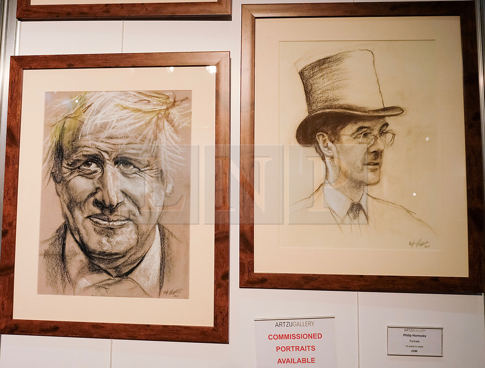 (c) Licensed to London News Pictures. <br /> 02/10/2017<br /> Manchester, UK<br /> <br /> Art work depicting Boris Johnson and Jacob Rees-Mogg is displayed at the Conservative Party Conference held over four days at the Manchester Central Convention Complex.<br /> <br /> Photo Credit: Ian Forsyth/LNP