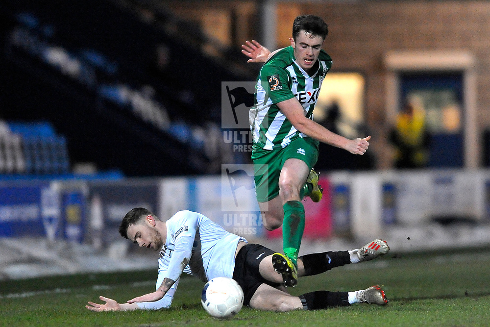 TELFORD COPYRIGHT MIKE SHERIDAN Arlen Birch of Telford is tackled during the Vanarama Conference North fixture between AFC Telford United and Blyth Spartans at The New Bucks Head on Tuesday, January 28, 2020.<br /> <br /> Picture credit: Mike Sheridan/Ultrapress<br /> <br /> MS201920-043