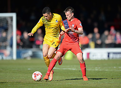 Cristian Montano of Bristol Rovers battles for the ball with James Berrett of York City - Mandatory by-line: Alex James/JMP - 30/04/2016 - FOOTBALL - Bootham Crescent - York, England - York City v Bristol Rovers - Sky Bet League Two