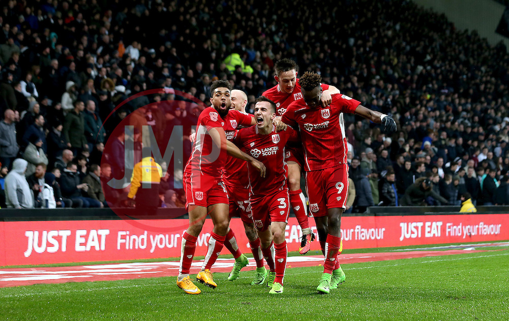 Tammy Abraham of Bristol City celebrates with teammates after scoring a goal after making it 3-0 - Mandatory by-line: Robbie Stephenson/JMP - 11/02/2017 - FOOTBALL - iPro Stadium - Derby, England - Derby County v Bristol City - Sky Bet Championship