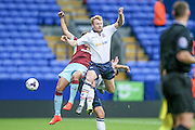 Chris Taylor (Bolton Wanderers) goes up to win the header during the Pre-Season Friendly match between Bolton Wanderers and Burnley at the Macron Stadium, Bolton, England on 26 July 2016. Photo by Mark P Doherty.