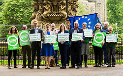 Pictured: Ross Greer, Maggie Chapman, Alison Johnstone and Andy Whightman<br /> <br /> The Scottish Green Party launched their statement on European Referendum today in Edinburgh. MSPs Ross Greer, Andy Wightman, Alison Johnstone were joined by co-convenor Maggie Chapman and activists as they the party's position on the referendum<br /> Ger Harley | EEm 13 June 2016