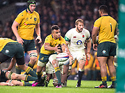 Twickenham, Surrey. UK. Will GENIA,  clears's the ball, during the <br /> England VS Australia, Autumn International. Old Mutual Wealth Series. RFU Stadium, Twickenham. UK<br /> <br /> Saturday  18.11.17<br /> <br /> [Mandatory Credit Peter SPURRIER/Intersport Images]