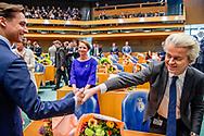 DEN HAAG -  Geert Wilders pvv Thierry Baudet (FvD)   legt de eed af tijdens de installatie van de nieuwe Kamerleden na de Tweede Kamerverkiezingen.  ROBIN UTRECHT<br /> democratie formatie holland installatie kabinetsformatie kamerleden kiezen nieuwe partijpolitiek politicus politiek tk2017 van