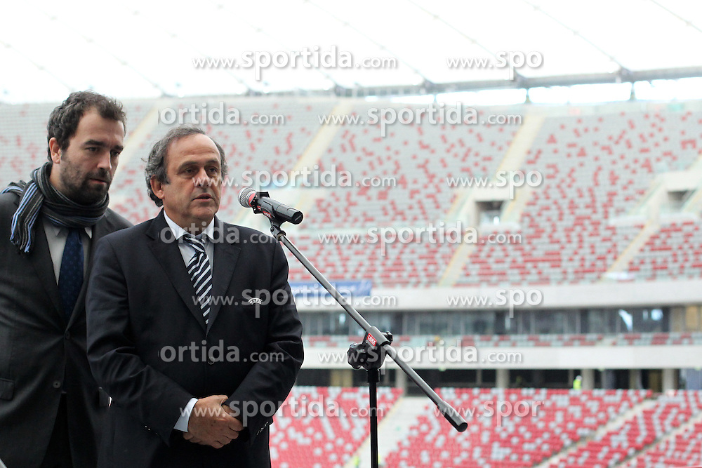 12.10.2011, Arena Nationalstadion, Warschau, POL, Offizielle Viste des UEFA Praesidenten in Polen, im Bild MICHEL PLATINI ( POLAND SPORT FOOTBALL )  // during Official visit of UEFA President to Poland, at Arena National Stadium in Warsaw, Poland on 12/10/2011. EXPA Pictures © 2011, PhotoCredit: EXPA/ Newspix/ Lukasz Grochala +++++ ATTENTION - FOR AUSTRIA/(AUT), SLOVENIA/(SLO), SERBIA/(SRB), CROATIA/(CRO), SWISS/(SUI) and SWEDEN/(SWE) CLIENT ONLY +++++