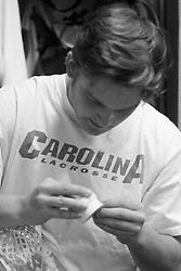 22 March 2008: North Carolina Tar Heels Mike Chires in the locker room before playing the Maryland Terrapins at Fetzer Field in Chapel Hill, NC.