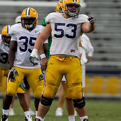 18 April 2009: LSU center T-Bob Hebert (53) lines up for a play during the 2009 LSU spring football game at Tiger Stadium in Baton Rouge, LA.