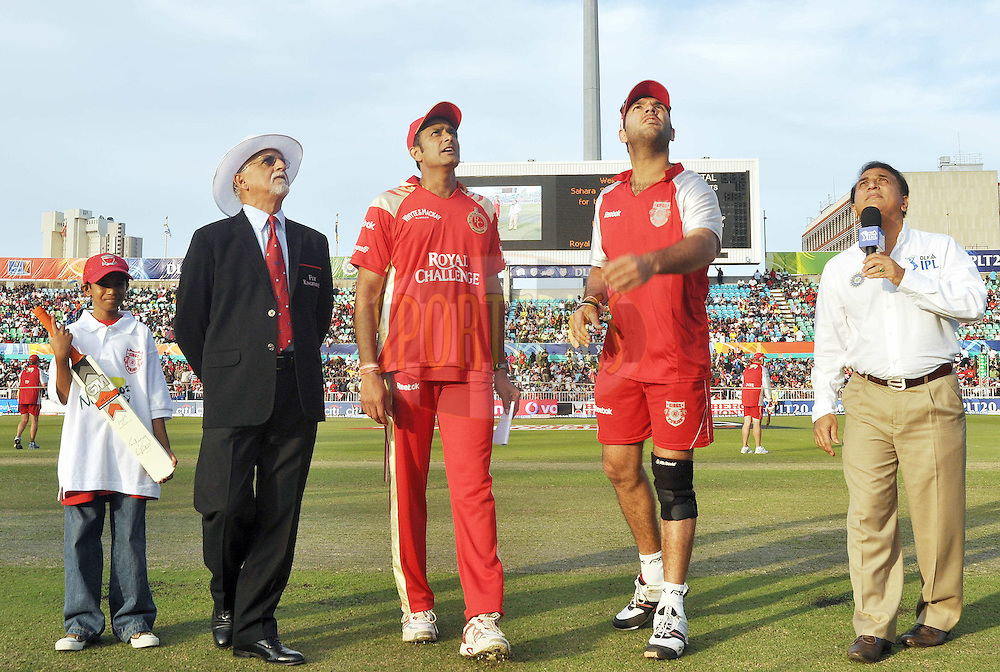 DURBAN, SOUTH AFRICA - 1 Mayl 2009.Coin toss  during the IPL Season 2 match between Kings X1 Punjab and the Royal Challengers Bangalore held at Sahara Stadium Kingsmead, Durban, South Africa..