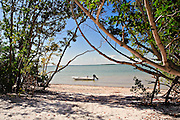 Mangroves frame a sand beach and Carolina Skiff at Rabbit Key, Everglades, Florida