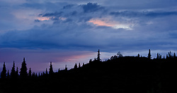 Clouds above a ridge near the Wonder Lake campground reflect the colors of the setting sun.