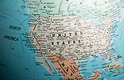 North America map on a globe focused on the United States of America USA