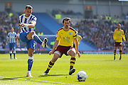 Brighton defender, full back, Liam Rosenior (23) battles with Burnley midfielder Joey Barton (13) during the Sky Bet Championship match between Brighton and Hove Albion and Burnley at the American Express Community Stadium, Brighton and Hove, England on 2 April 2016. Photo by Phil Duncan.